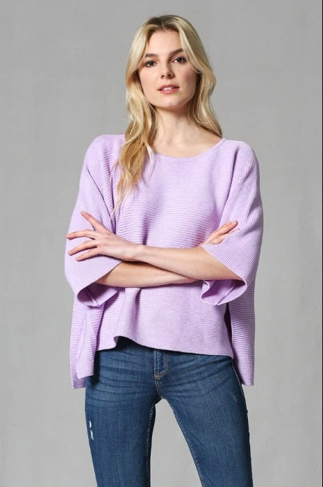 Fate Lavender Wide Cropped Sleeve Knit sweater