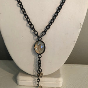 Antiqued Chain with Crystal Charm, 20""