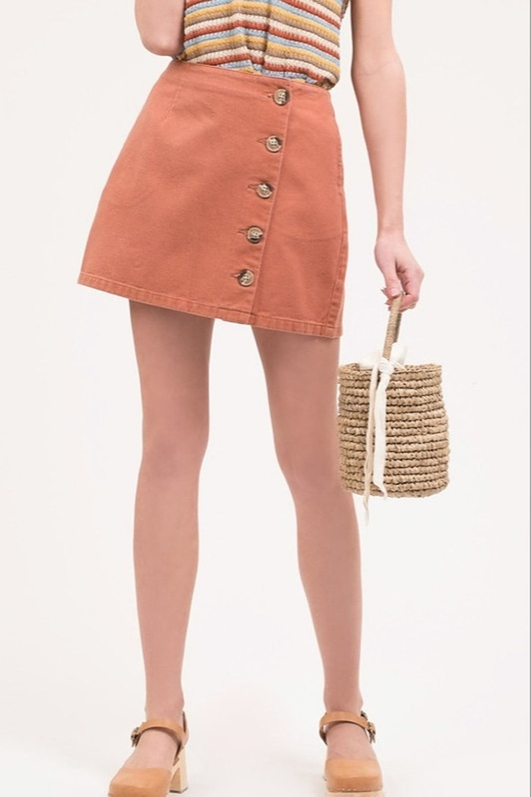 Brick Red Mini Skirt with Buttons