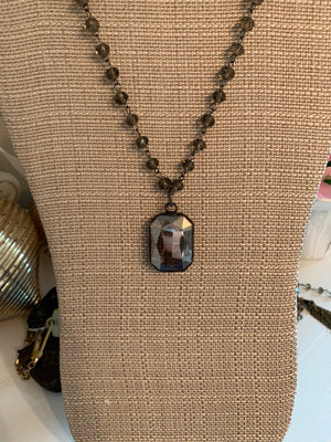 Single Drop Crystal, Beaded Chain Necklace