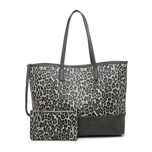 Animal Print Two-Tone Tote Bag with detachable small wallet.