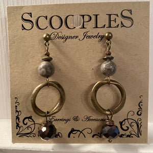 Crystal Midnight Agate Earrings - J2853