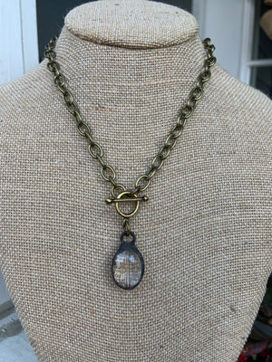 Small Link Chain Necklace With Large Clear Crystal #1054