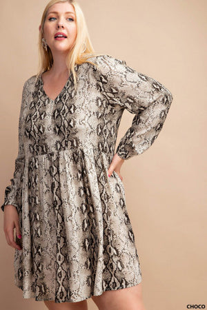 Animal Printed Dress (Curvy Fit)