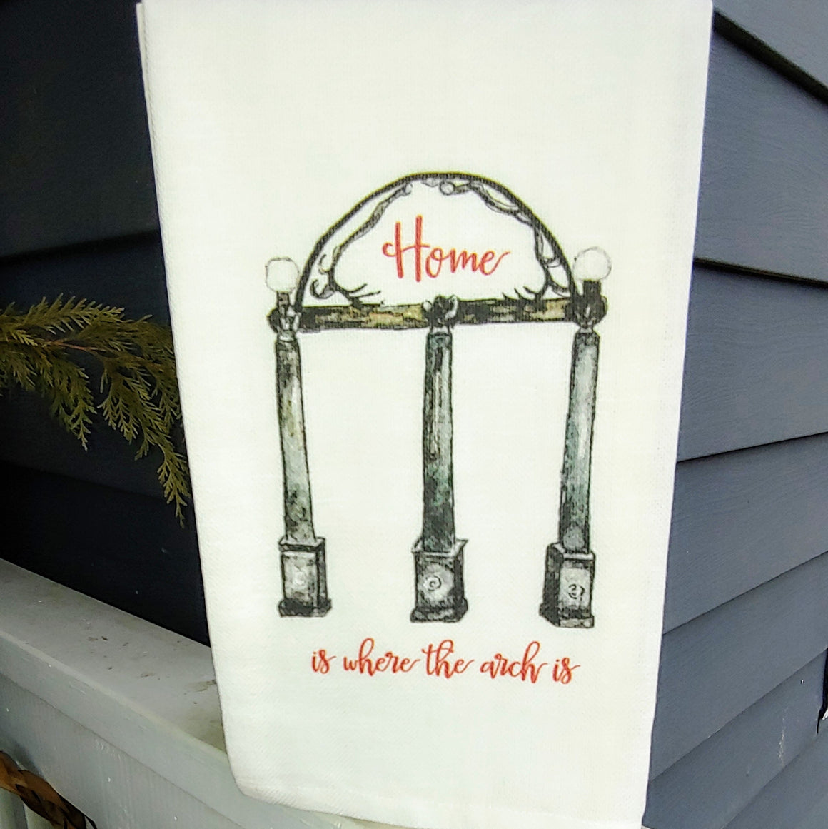 Home Is Where The Arch Is -  French Graffiti Cotton Dishtowel