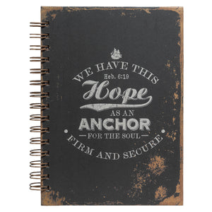 Journal - Hope As An Anchor Large Hardcover Wirebound Journal - Hebrews 6:19