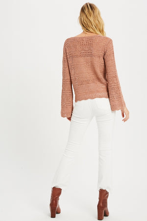 Ruched crocheted V Neck sweater
