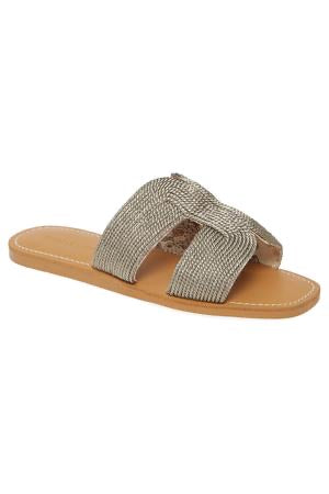Metallic Pewter Braided Slide Sandal