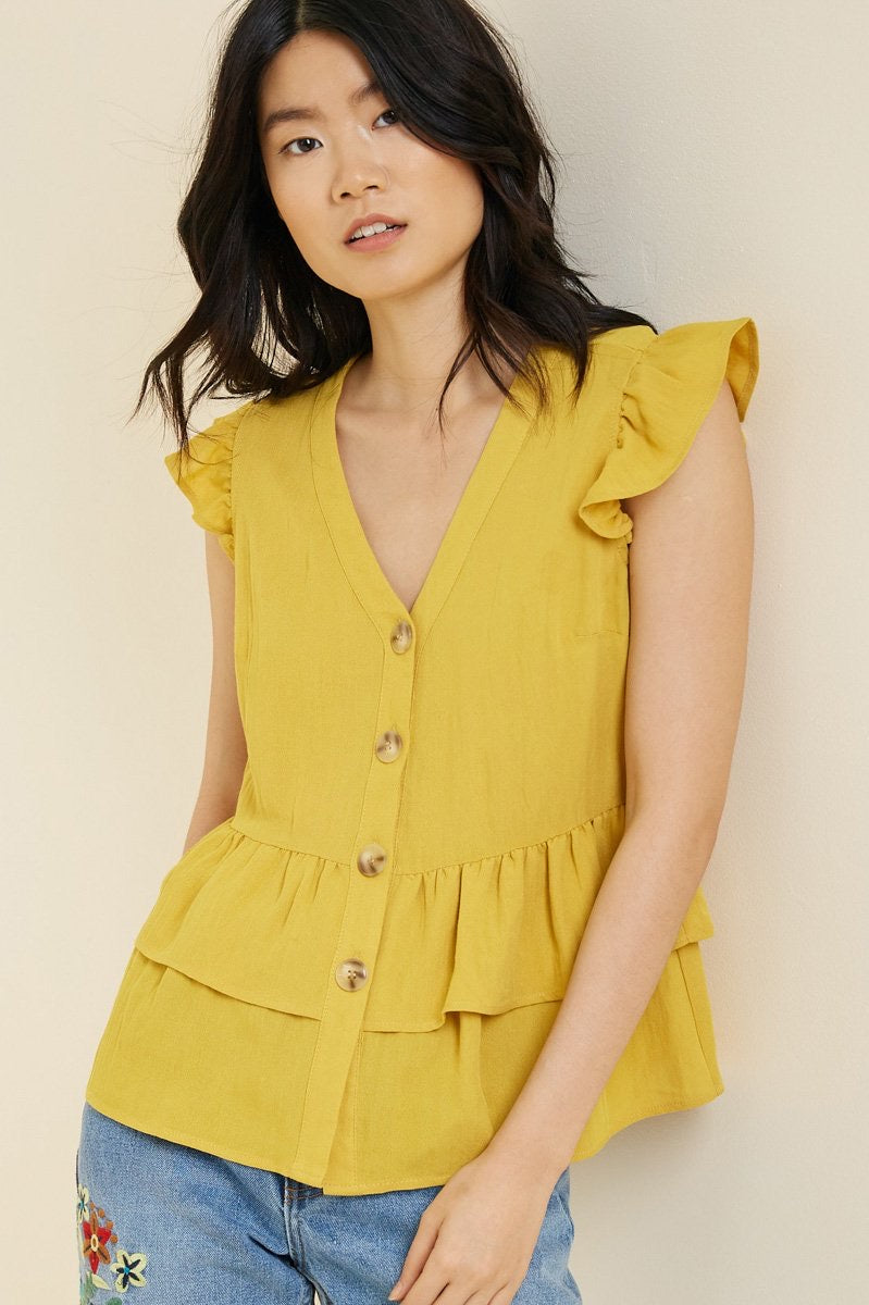 Button-Down Tiered Ruffle Hem Top- Honey