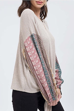 Multicolored Long Sleeved Boho Top