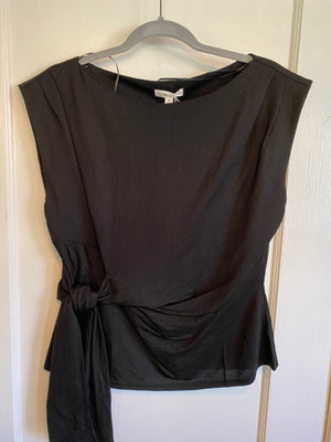 Boatneck Sleeveless Top With Side Tie