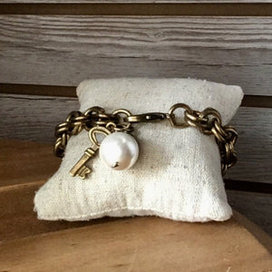 Antique Brass Chain and Charm Bracelet