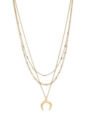 "Triple Layer Gold and Crystal Necklace and Gold Crescent 19""-20"""