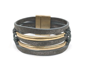 Grey Leather and Gold Bar Multi Strand Magnetic Bracelet