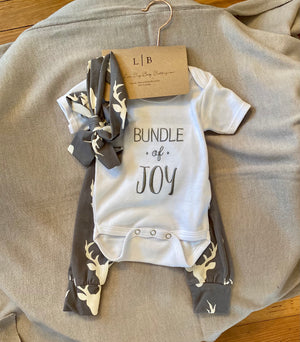 3 Piece Onesie, Pant, Headband Set  Bundle of Joy