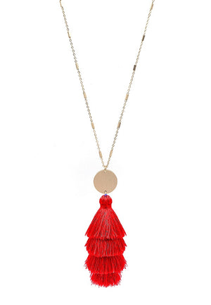 "Gold 34"" Necklace with Layered Fabric Tassel with Gold Accent."