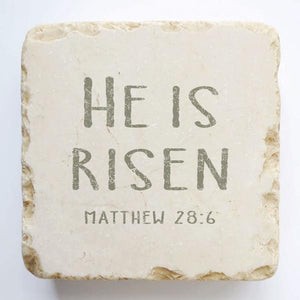 Large - Scripture Marble Stone - He Is Risen