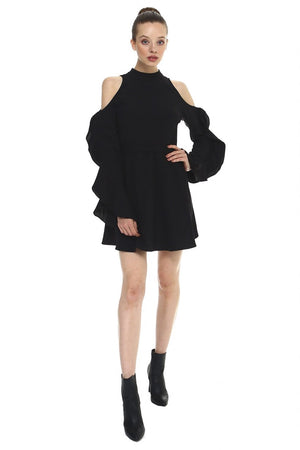 Ruffled Sleeve Flounce Dress, Black
