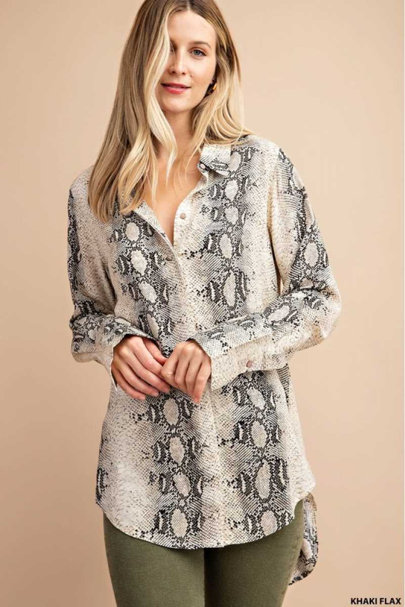 Snake Skin Print Shirt with Long Sleeve Cuffs