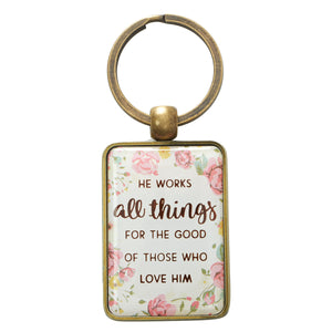 Key Ring in Tin Gift Box - He Works All Things For The Good
