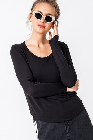 Long Sleeve Curve Hem Top