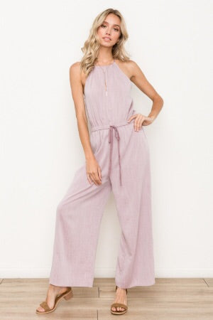 Tunnel waist halter jumpsuit