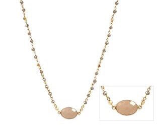 "16""- 18"" Brown Crystal Necklace with Light Brown Semi Precious Stone and Drop Earrings"