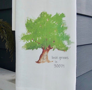 French Graffiti Cotton Dishtowel - Love Grows in 30071