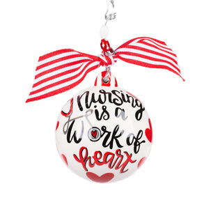 Ornament - Nursing is a Work of Heart - with personalization