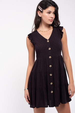 Swiss-Dot Tiered Dress