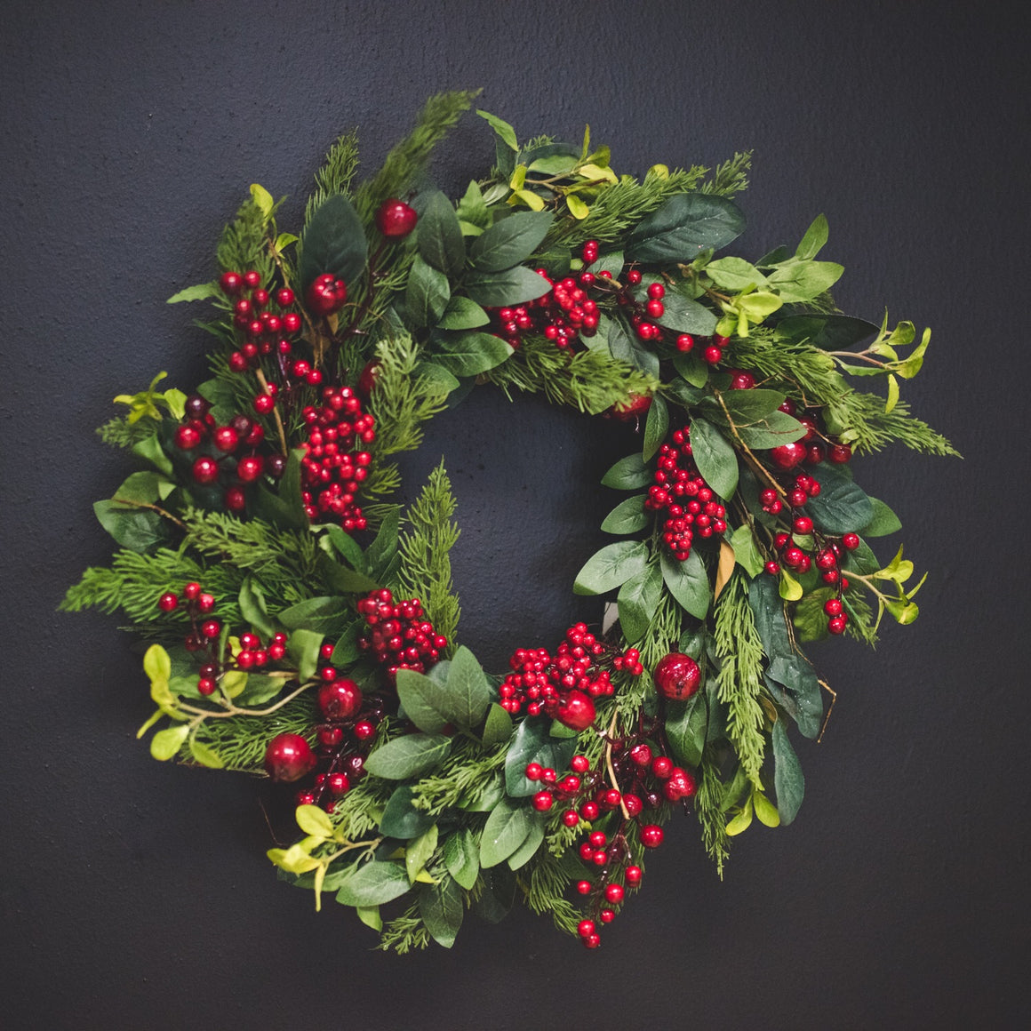 Cedar & Red Berry Wreath