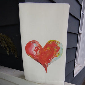 French Graffiti Cotton Dishtowel - Heart
