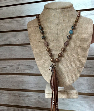 Beaded Tassel Necklace, 42""