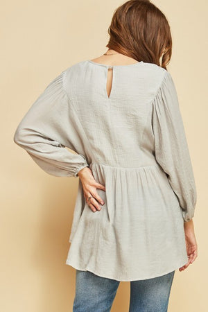 V-Neck Peasant Top, Grey