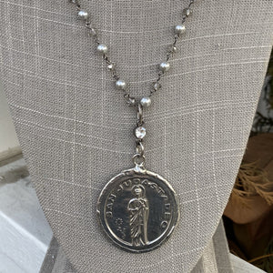 "Silver, Pearl, and Smokey grey crystal 42"" Necklace with silver large disc charm- (NW 109)"