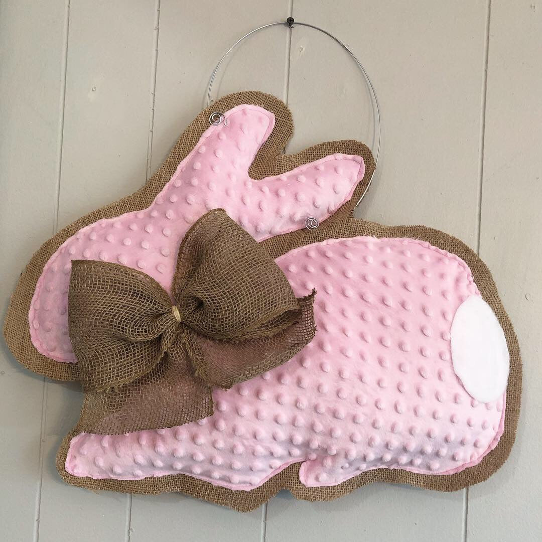 This soft pink bunny wreath is perfect for a spring or a new baby girl! Hand Crafted by a local designer.  May be monogrammed for an additional $10
