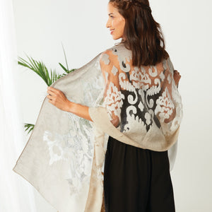 Sheer Shawl - Cream and Taupe