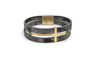 Leather Multi Strand Magnetic Bracelet with Gold Cross in Grey or Brown