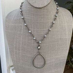 "Silver Pearl and Crystal ""18 Necklace with charm - NW104"