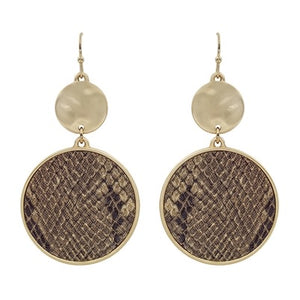 "Snake Print and Gold Circle 2"" Earring"