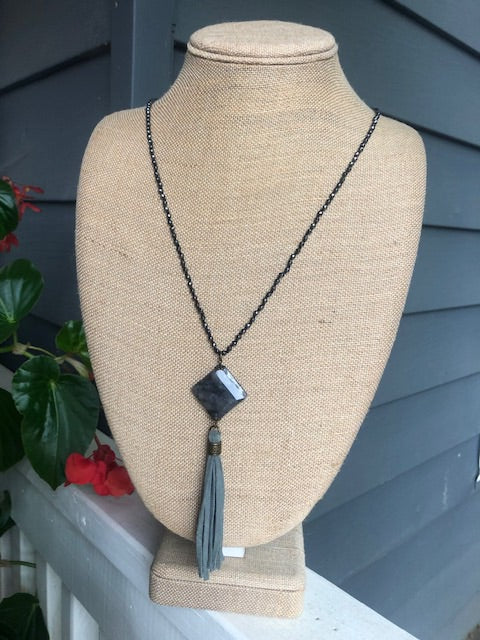 Grey Beaded Necklace with Suede Tassel