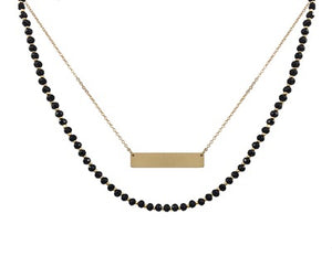 "Black Crystal with Gold Engravable Bar Layered 18"" Necklace and Drop Earrings #1034"