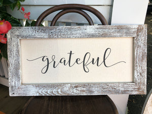 "Old Farmhouse Frame with ""Grateful"" sentiment"