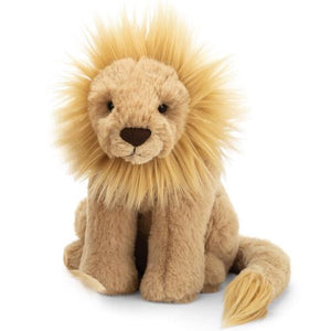 "Leonardo Lion is a royal sweetheart, with a fine buttery mane and such soft biscuit fur. His mighty paws and chunky chocolate nose are fit for a king and scrumptious to snuggle. Wrapping his long, long tail behind him, he sits on his haunches, ready to pounce! 11"" tall"