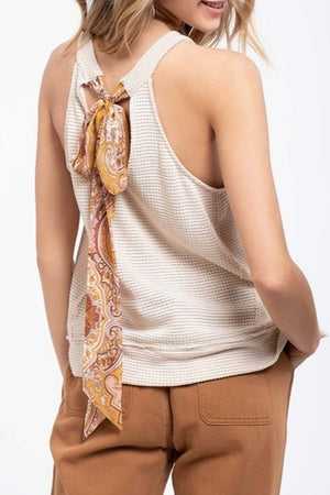 Sleeveless Knit Top in Rust with Contrasting Back-Tie