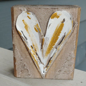 Hand painted Wood Art Blocks - Heart