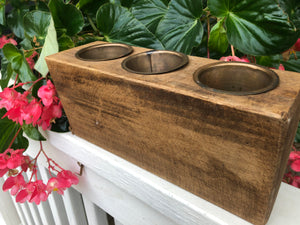 Spanish Oak Wooden Sugar Mold 3 hole Candle Holders