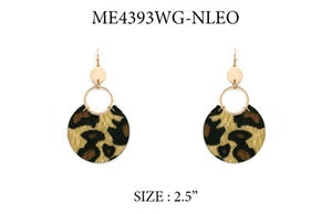 "Gold Triple Drop with Cheetah Print 2.5"" Earring"