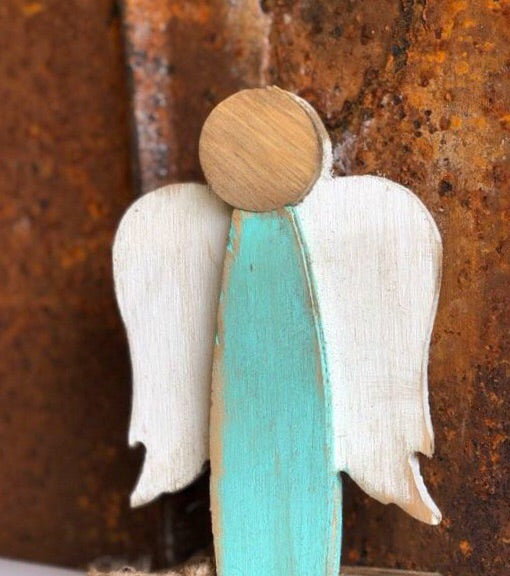 "Handcrafted Wooden Standing Angel, 21"" tall"