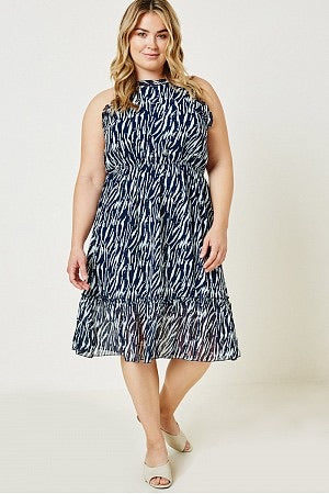 Curvy Fit Sleeveless Navy Zebra Print Midi Dress